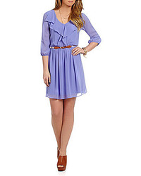 I.N. San Francisco Ruffle Front Chiffon Dress