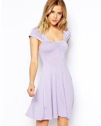 Asos Skater Dress With Sweetheart Neck And Cap Sleeves