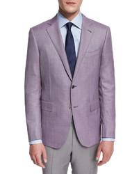 Ermenegildo Zegna Micro Check Two Button Jacket Pink