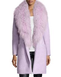 Elizabeth and James Oversized Collar Fur Coat Lilac
