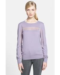 Illusion Stripe Cotton Blend Sweater Lilac X Small