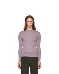 Judy Turner Purple Silk Base Crewneck Sweater