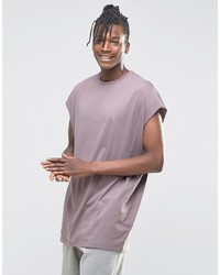 Asos Brand Super Oversized Sleeveless T Shirt With Raw Edge In Violet Gray