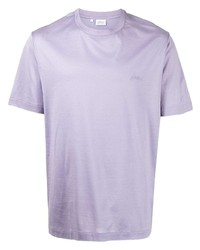 Brioni Logo Embroidered Cotton T Shirt