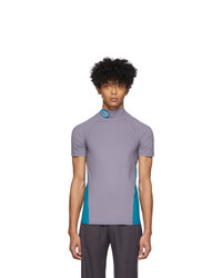 Keenkee Purple And Blue Fitted Turtleneck T Shirt