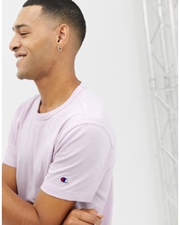 Champion T Shirt With Small Sleeve Logo In Lilac