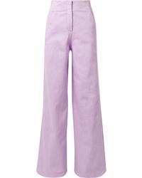 Tibi Cotton Blend Wide Leg Pants