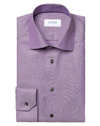 Eton Contemporary Fit Textured Crease Resistant Dress Shirt