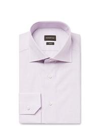 Ermenegildo Zegna Grape Slim Fit Cutaway Collar Checked Trofeo Cotton Poplin Shirt