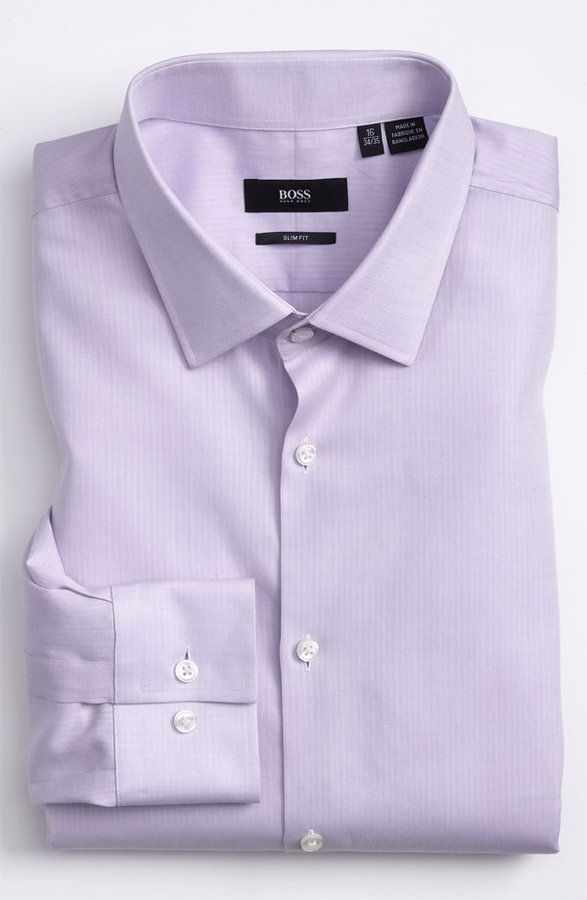 Hugo Boss Boss Jenno Slim Fit Herringbone Dress Shirt