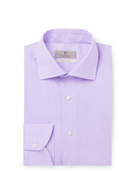 Canali Lilac Slim Fit Cotton Poplin Shirt
