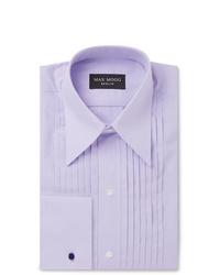 Maximilian Mogg Lilac Slim Fit Pleated Bib Front Cotton Tuxedo Shirt