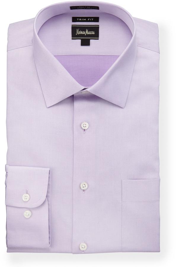 Neiman marcus trim fit stretch dress shirt lilac where for How to stretch a dress shirt