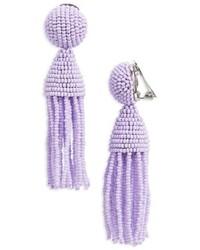 Oscar de la Renta Classic Short Tassel Drop Clip Earrings