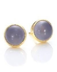 Ila Luna Mili Lavender Chalcedony 14k Yellow Gold Stud Earrings