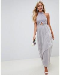 ASOS DESIGN High Neck Mesh Embellished Waist Maxi Dress