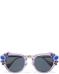 Miu Miu Crystal Embellished Cat Eye Acetate Sunglasses Lilac