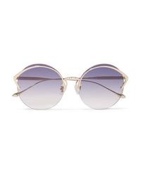 For Art's Sake Margarita Round Frame Faux Pearl Embellished Gold Tone Sunglasses