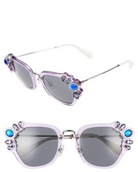 Miu Miu 51mm Embellished Sunglasses Lilac
