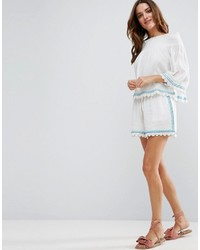 Liquorish Cheesecloth Embroidered Beachwear Shorts Part Of Co Ord