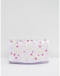 Asos Embroidered Velvet Foldover Clutch Bag