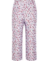 Altuzarra Nettle Cropped Floral Jacquard Flared Pants Lilac