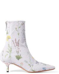 Altuzarra Elliot Floral Print Matelass Ankle Boots Lilac