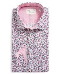 Light Violet Floral Dress Shirt