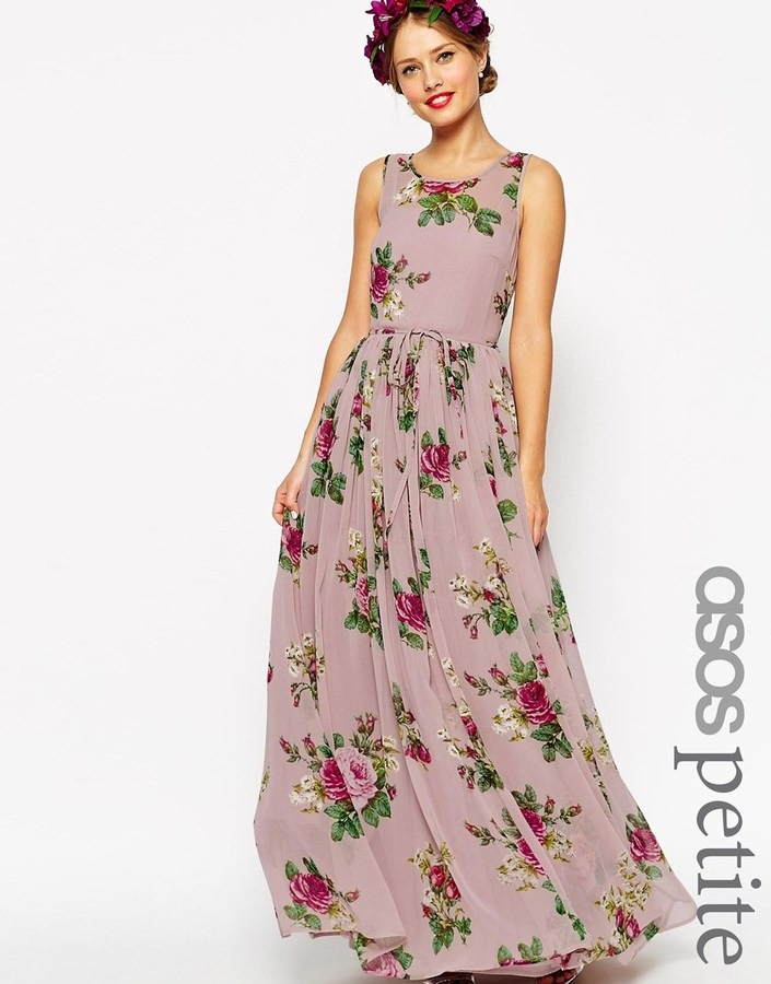 Asos petite wedding super full maxi dress in floral print for Floral print dresses for weddings