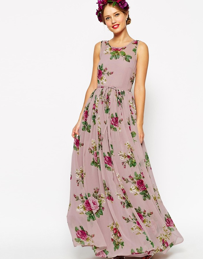Asos Wedding Lilac Floral Super Full Maxi Dress