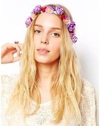 Asos Crochet Flower Headband Purple