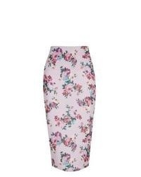 New Look Pink Floral Print Midi Skirt