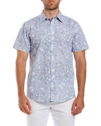Ben Sherman Linear Floral Print Short Sleeve Sport Shirt