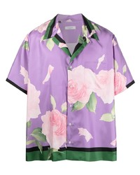 Valentino Rose Print Silk Shirt
