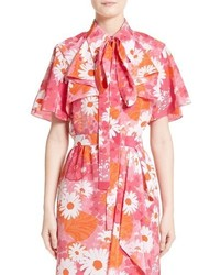 Michael Kors Michl Kors Floral Silk Bow Neck Blouse