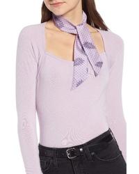 Light Violet Floral Silk Scarf