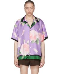 Valentino Purple Silk Flying Flowers Bowling Short Sleeve Shirt
