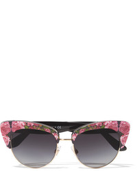 Dolce & Gabbana Cat Eye Floral Print Acetate Sunglasses Pink
