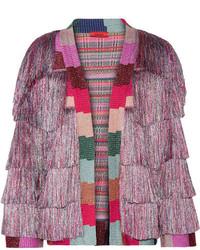 Missoni Fringed Metallic Knitted Jacket Lilac