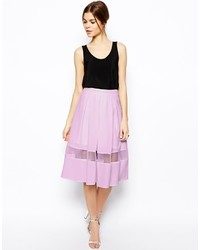Woven midi skirt with sheer hem black medium 25966