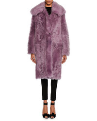 Oversized teddy shearling fur coat lavender medium 4353420