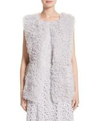St. John St John Collection Reversible Genuine Curly Lamb Fur Vest