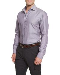 Ermenegildo Zegna Geometric Print Long Sleeve Sport Shirt Purple