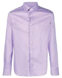 Canali Geometric Print Slim Fit Shirt