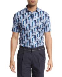 Brioni Geometric Print Short Sleeve Sport Shirt Purple