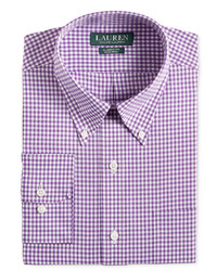 Lauren Ralph Lauren Classic Fit Non Iron Purple Gingham Dress Shirt
