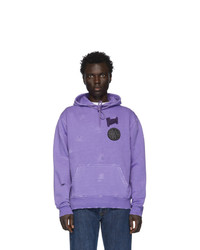 Vyner Articles Purple Distressed Patch Hoodie