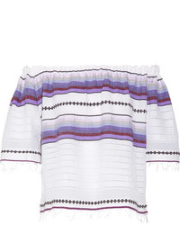 Lemlem Adia Off The Shoulder Striped Cotton Blend Gauze Top Violet