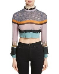 Undercover Stripe Silk Crop Top