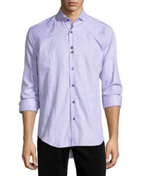 Bogosse Houndstooth Long Sleeve Sport Shirt